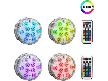 B.K.Licht LED Dekolicht »Eris«, 4er Set farbiges LED Unterwasserlicht mit Fernbedienung