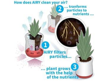 AIRY Pot Luftreiniger Blumentopf,1600ml,rund,grau,blau, grau, grau