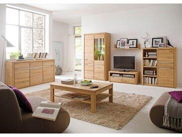 expendio Wohnzimmer-Set »Pisa 42«, (Spar-Set, 6-tlg), Eiche bianco massiv montiert mit Glaskantenbeleuchtung und Softclose-Funktion