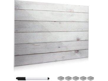 Navaris Magnettafel, Memoboard aus Glas - Magnetwand 60x40 cm zum Beschriften - Magnetische Tafel inkl. Magnete Stift Halterung - Holzoptik Design