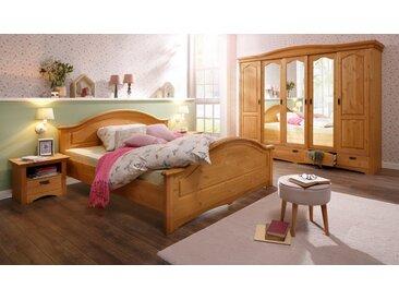 Home affaire Schlafzimmer-Set »Konrad«, (Set, 5-St), mit 5-trg. Kleiderschrank, Bett 180/200 cm und 2 Nachttischen, beige, gelaugt-geölt
