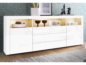 borchardt Möbel Sideboard, Breite 166 cm, weiß, weiß Hochglanz