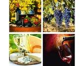 Home affaire Leinwandbild »Gläser, Weintrauben, Käse, Wein«, 4x 30/30 cm, rot