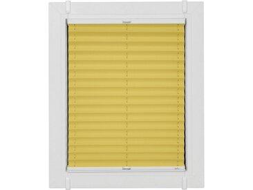 sunlines Plissee nach Maß »Classic Style Crepe«, Lichtschutz, ohne Bohren, verspannt, verspannt mit Simply-Fix Klemmträger, gelb, sonnengelb-weiß
