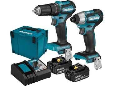 Makita MAKITA Werkzeugset »DLX2221JX2«, 18 V, 3 Ah, inkl. Ladegerät und 2 Akkus, blau, 2 Akkus, blau