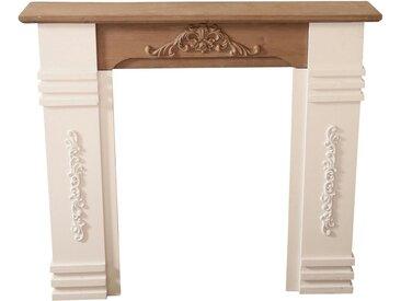 elbmöbel Kaminumbauschrank »Kaminumrandung weiß braun aus Holz« Kaminumbau: Umrandung 110x98x22 cm weiß holz charlet Landhaus