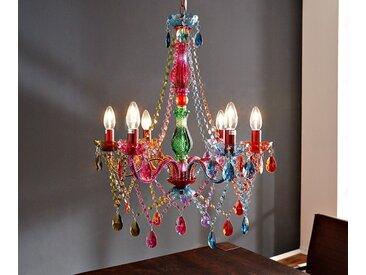 DELIFE Hängeleuchte Gypsy Starlight 55 cm 6-armig Kronleuchter, bunt, Mehrfarbig