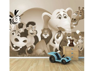 Bilderdepot24 Deco-Panel, Fototapete - Kinderbild Tiere Cartoon, bunt, Sephia