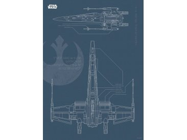 Komar KOMAR Wanddekoration »Star Wars Blueprint X-Wing«, ohne Rahmen, bunt, 50 cm, bunt