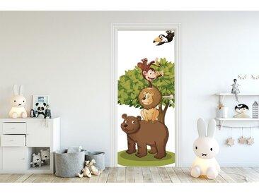 Bilderdepot24 Deco-Panel, Türaufkleber - Kinderbild Tierfreunde