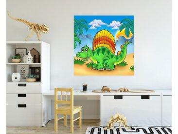 Bilderdepot24 Deco-Panel, Fototapete Kindertapete - Kleiner Dinosaurier, bunt, Farbig