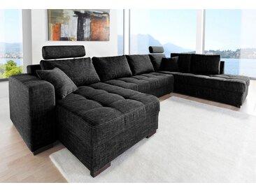 Jockenhöfer Gruppe Wohnlandschaft, inklusive Bettfunktion und Bettkasten, schwarz, schwarz