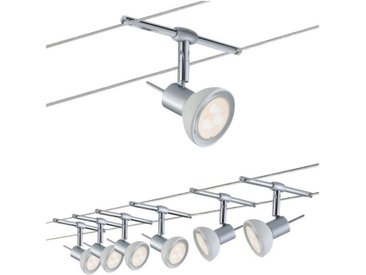 Paulmann LED Deckenleuchte »Wohnzimmerlampe LED 6x4W Sheela 230/12V, Chrom matt/Opal«, Seilsystem, 6-flammig