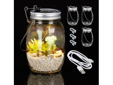 relaxdays Gartenleuchte »4 x Solarlampe Glas mit USB«