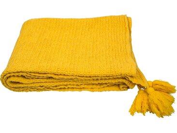 TOM TAILOR Plaid »Honeycomb«, mit Quasten, gelb, gelb