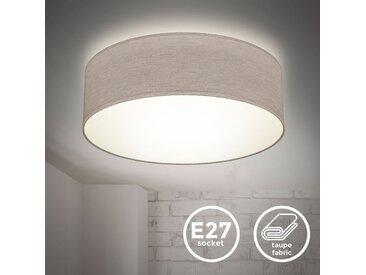 B.K.Licht Deckenleuchte »BKL1217«, Deckenlampe Stoffdeckenleuchte Deckenleuchte Bürolampe Textilschirm E27 1 Flammig 30cm Taupe ohne Leuchtmittel