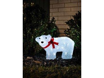 KONSTSMIDE LED Eisbär, stehend, mit Schleife, weiß, Lichtquelle kalt-weiß, Transparent