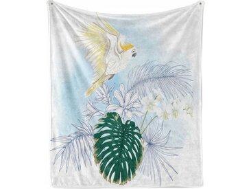 Abakuhaus Foulard »Gemütlicher Plüsch für den Innen- und Außenbereich«, Tropisch Exotische Pflanzen und ein Papagei