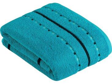 Vossen Saunatuch »Atletico« (1-St), mit aufwändiger Bordüre, blau, crystal blue