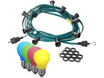 SATISFIRE Lichterkette »Illu-/Partylichterkette 20m Außenlichterkette Made in Germany 20 x bunte LED Tropfenlampe«, 20-flammig