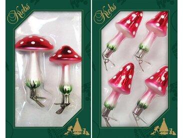 Krebs Glas Lauscha Christbaumschmuck »Pilze« (6-tlg), handdekoriert