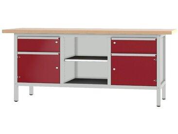 PADOR Werkbank »31 S 252/20 R«, Höhe: 85,5 cm, rot, hellgrau/dunkelrot