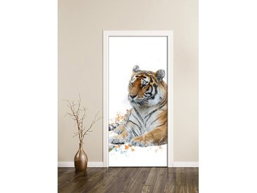 Bilderdepot24 Deco-Panel, Türtapete selbstklebend Tiger 90 x 200 cm Wasserfarbe Aquarell Tier Raubtier Katze Asien Tierbild