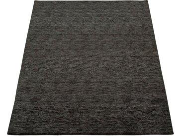 Paco Home Teppich »Atlas 100«, rechteckig, Höhe 14 mm, Kurzflor-Gabbeh, aus Baumwolle Einfarbig, grau, anthrazit