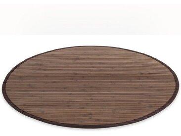 Homestyle4u Teppich, rund, Höhe 17 mm, Bambusteppich mit rutschfester Unterseite, schwarz, Dunkelbraun