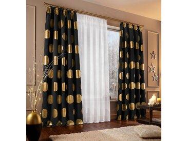 my home Verdunkelungsvorhang »Kreise«, Kräuselband (1 Stück), Foliendruck, schwarz, schwarz-goldfarben
