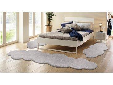 my home Bettumrandung »Magong« , Höhe 25 mm, (3-tlg), Bettläufer, besonders weich durch Microfaser, Wolkenform, silberfarben, silberfarben