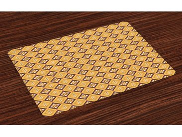 Abakuhaus Platzset, »Waschbare Stoff Esszimmer Küche Tischdekorations Digitaldruck«, (4-teilig, 4 Teilig-St., Set aus 4x), afrikanisch Fliese
