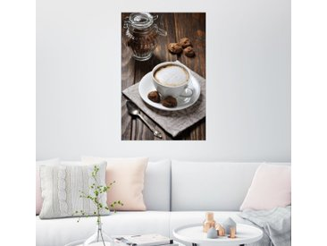 Posterlounge Wandbild, Tasse Kaffee mit Plätzchen, Leinwandbild