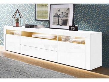 borchardt Möbel Lowboard, Breite 166 cm, weiß, MDF, weiß Hochglanz