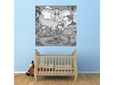 Bilderdepot24 Deco-Panel, Fototapete - Kinderbild Tropische Tiere, bunt, Schwarz Weiss
