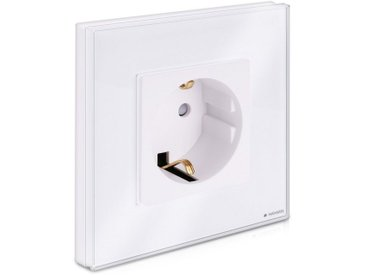Navaris Unterputz-Steckdose, Glas Schuko Steckdose einfach - mit Montagematerial - Design Schutzkontakt Wandsteckdose mit Glasrahmen, weiß, weiß