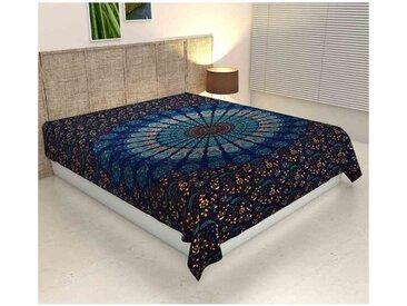 Casa Moro Bettüberwurf » Überwurf Mandala Amba 140x220, Psychedelische Wanddecke dekorativer Hippie Wand-Teppich Boho-Stil, Orientalische Dekoration, «, MA6616, blau
