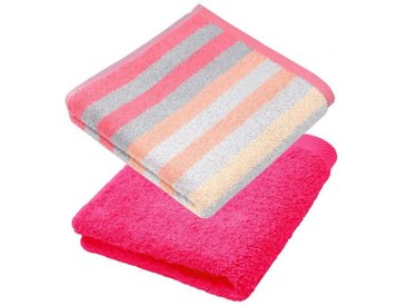 Lashuma Handtuch Set »Pure« (Set, 2-tlg), 2er Set Handtücher 50x100 cm, Gestreifte und Unifarbene Frotteetücher, rosa, fuchsia