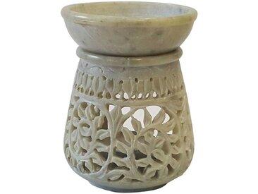 Casa Moro Duftlampe »Orientalische Duftlampe Shakir 30 Grün weiß aus Naturstein Soapstone geschnitzt 10x10x11 (B/T/H) ätherisches Öl Diffusor, Teelicht-Halter für Aromatherapie, Aromalampe