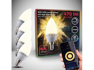 B.K.Licht LED-Leuchtmittel, E14, 4 Stück, Warmweiß, App- Sprachsteuerung Alexa Google Home I iOS & Android I WLAN Glühbirne I Smartes Leuchtmittel