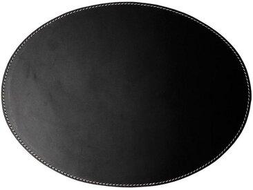 Orskov Platzset, Tischset aus Leder oval schwarz mit weißen Nähten