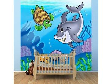 Bilderdepot24 Deco-Panel, Fototapete Kindertapete Unterwasser Tiere, bunt, Farbig
