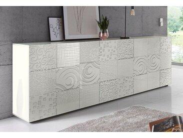 LC Sideboard »Miro«, Breite 241 cm mit dekorativem Siebdruck, weiß, Weiß Hochglanz Lack mit Siebdruck