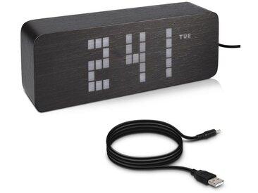 kwmobile Reisewecker LED Senioren Digital Uhr mit großen Ziffern - mit Weckfunktion - Temperatur Tagesanzeige 3 Alarm Weckzeiten - Nachttisch Tischuhr dimmbar