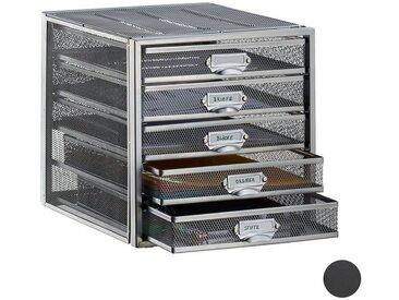 relaxdays Schubladenbox »Schubladenbox A4 mit 5 Fächern«, silberfarben, Silber