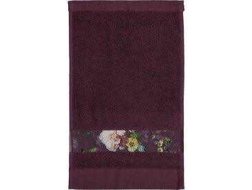 Essenza Gästehandtuch »Fleur« (3-St), Bordüre im wunderschönen Blumenprint, lila, Kordel, burgund
