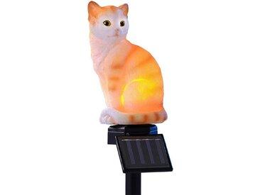 JOKA international Dekoobjekt »Sitzende Katze rot/weiß«, Solarleuchte sitz. Katze mit Erdspieß