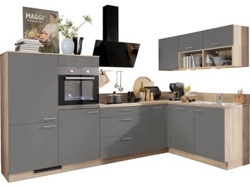 Express Küchen Winkelküche »Scafa«, mit E-Geräten, vormontiert und mit Soft-Close-Funktion, Stellbreite 305 x 185 cm, grau, Spüle rechts, anthrazit
