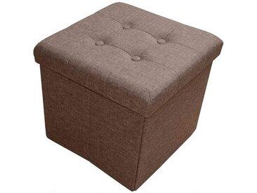 Natsen Sitzhocker, Sitzbank Sitzhocker mit Stauraum Faltbare Sitzwürfel belastbar bis 300 kg Leinen (Braun), braun, Braun