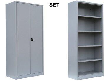Lüllmann Mehrzweckschrank-Set »SET 1x Flügeltürenschrank 5 OH und 1x Aktenregal 4,5 OH, lichtgrau«, (Spar-Set, 1x Aktenschrank & 1x Aktenregal), komplett montiert und verschweißt - kein Aufbau notwendig - Stahl-Schränke/Aktenregale mit einer Blechdicke von 0,6mm sind für unterschiedlichste Einsatzbereiche wie z.B. Büro, Garage, Keller